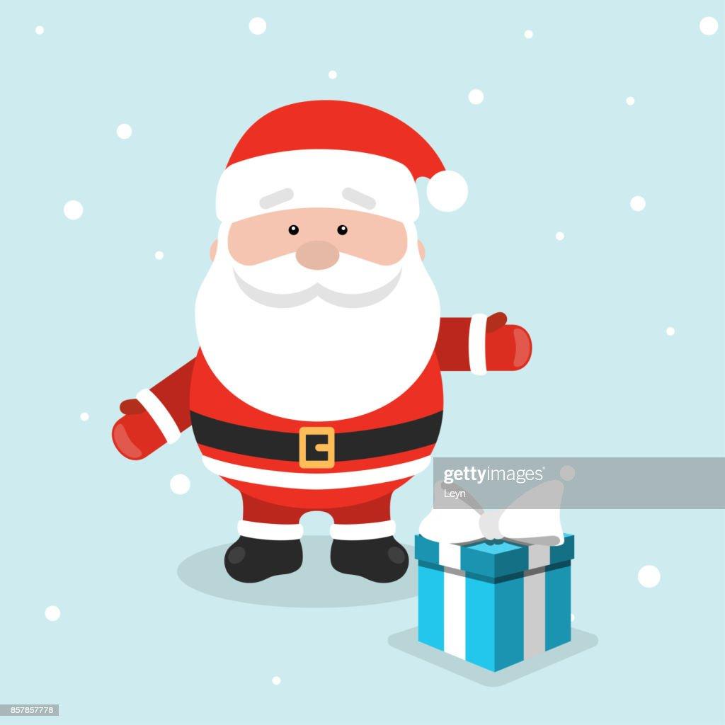 Weihnachtsgrußkarte Mit Weihnachten Weihnachtsmann Und Blauen ...