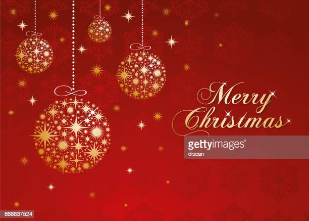 christmas greeting card with golden balls. - insignia stock illustrations