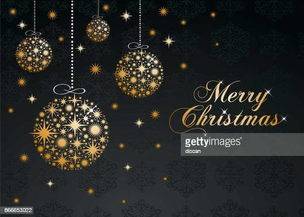 christmas greeting card with golden balls. - christmas ornament stock illustrations