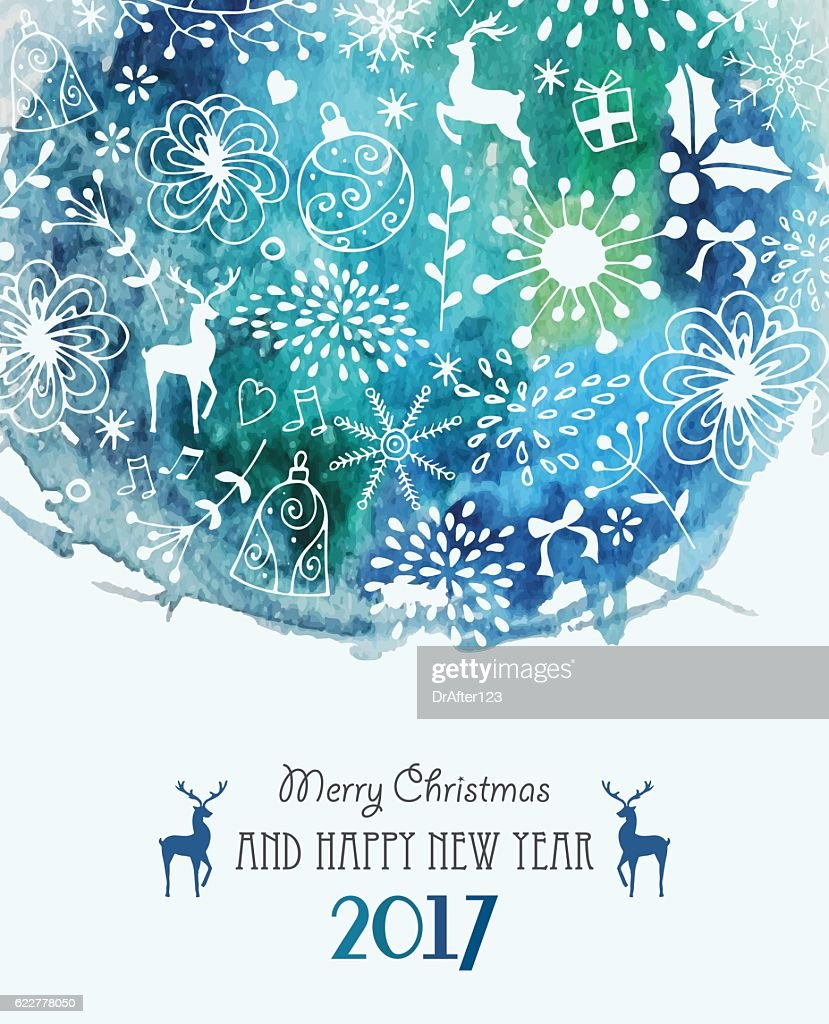 Christmas Greeting Card With Hand Drawn Elements
