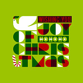 Christmas greeting card with joy love peace lettering and dove holding holly tree branch