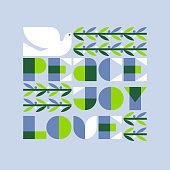 Christmas greeting card with joy love peace lettering and flying dove