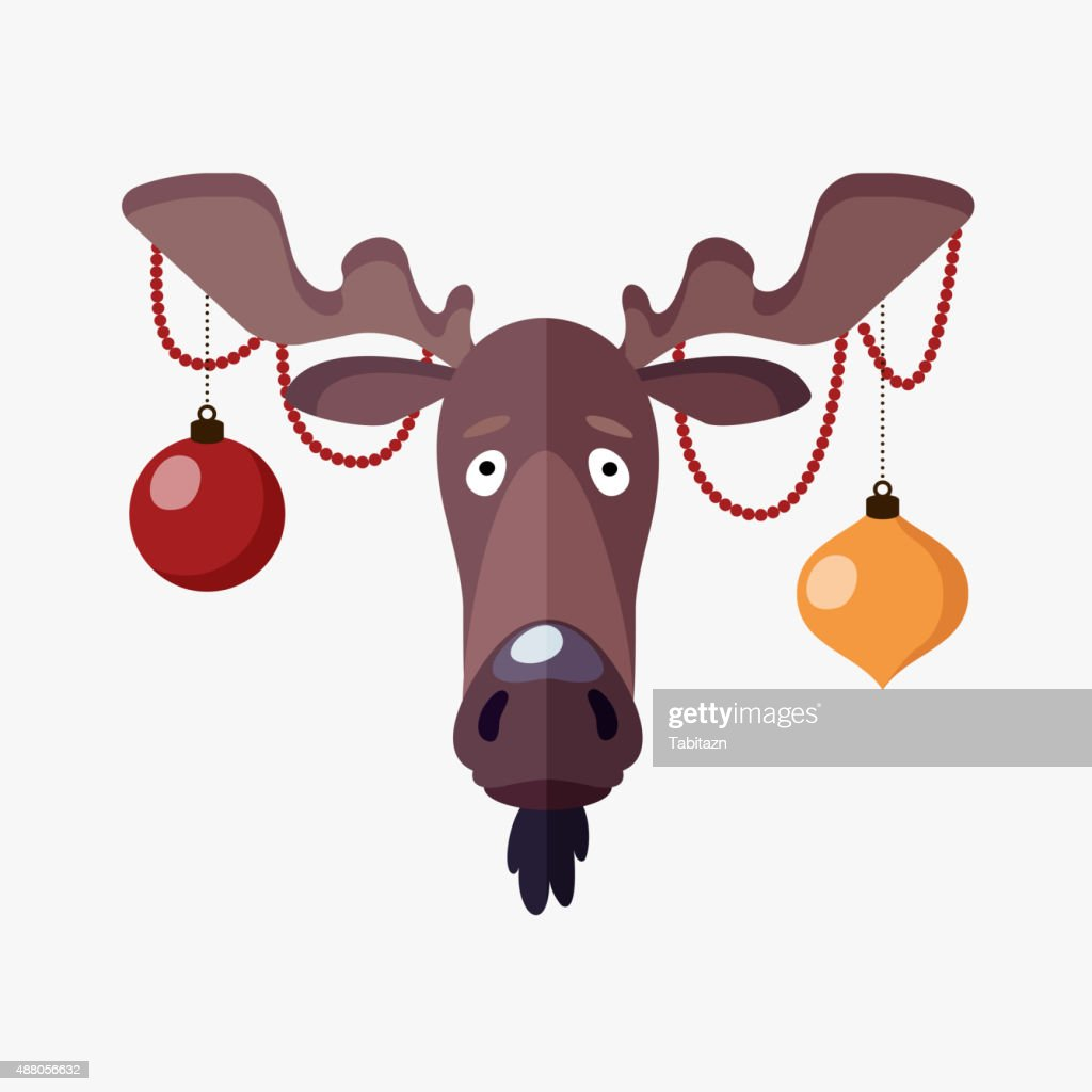 Christmas greeting card with moose head decorated by christmas balls