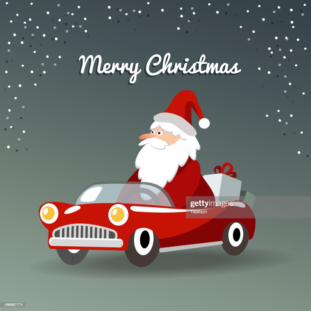 Christmas greeting card with Santa Claus, retro car and gifts