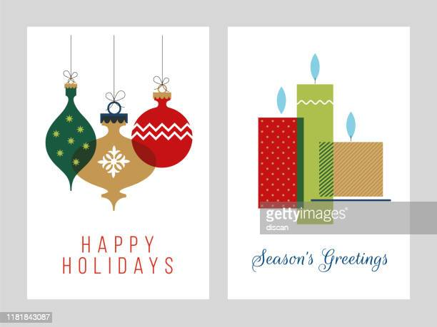 christmas greeting cards collection - illustration. - christmas ornament stock illustrations