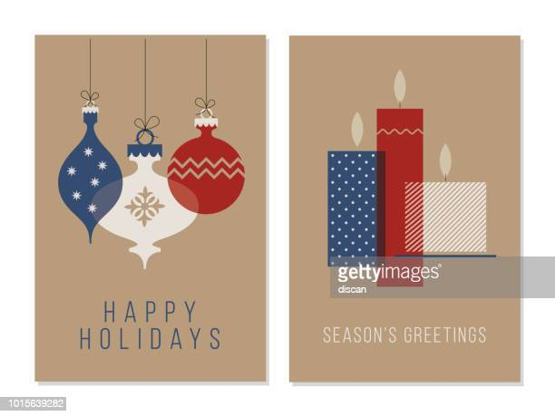 christmas greeting cards collection. - candle stock illustrations, clip art, cartoons, & icons
