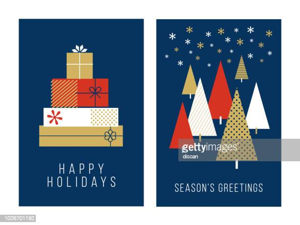 christmas greeting cards collection - christmas present stock illustrations