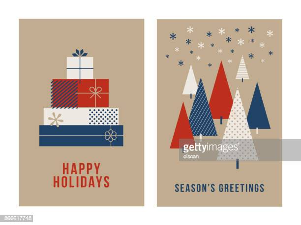 christmas greeting cards collection. - public celebratory event stock illustrations, clip art, cartoons, & icons