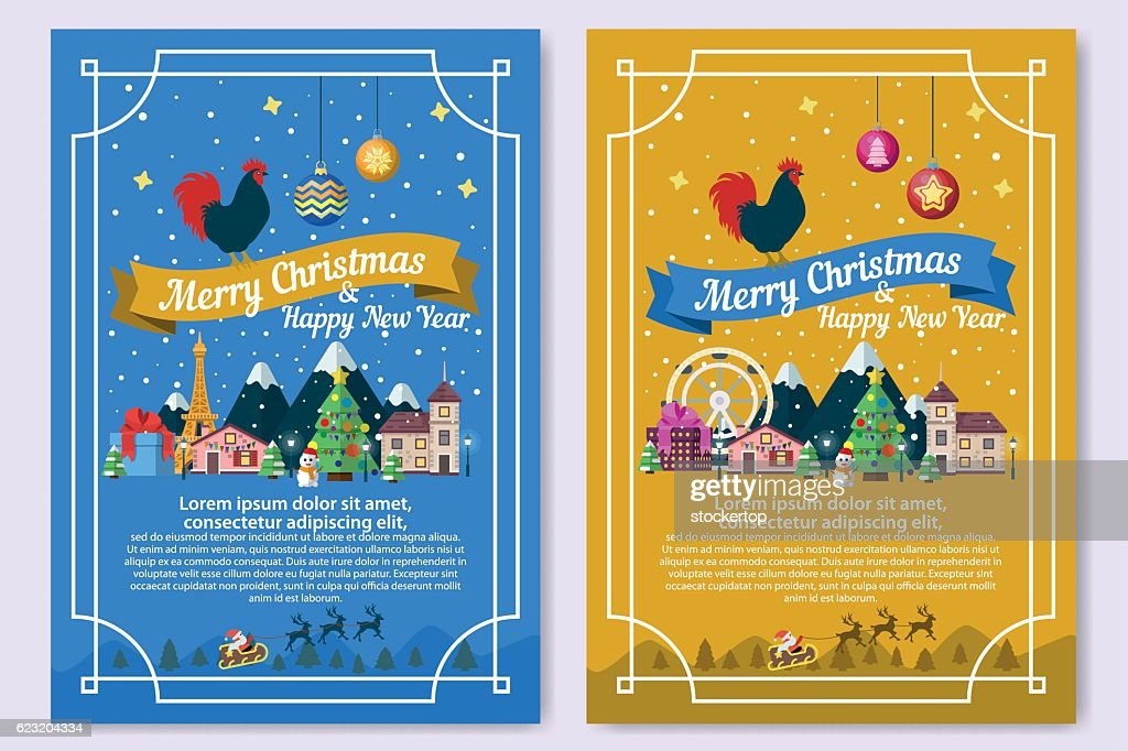 Christmas greeting cards in a flat style colored ribbons vector art christmas greeting cards in a flat style colored ribbons vector art m4hsunfo