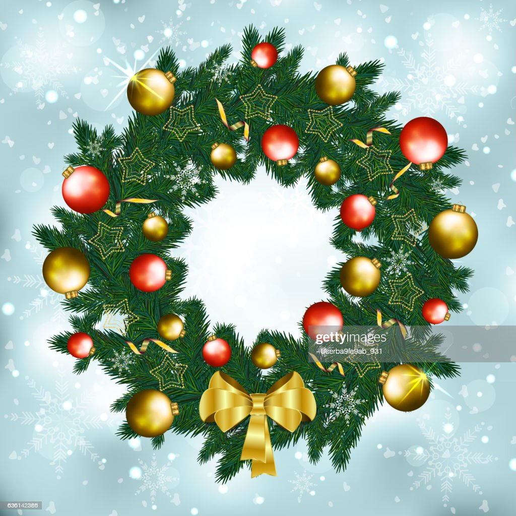 Christmas Greeting Postcard With Green Wreath Gold Bow And Balls