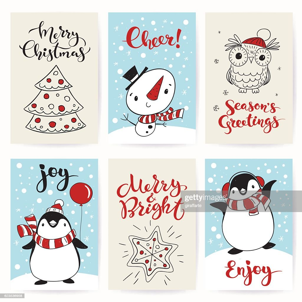 Christmas greeting posters with funny characters