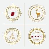 christmas greeting trendy retro style insignia emblem elements