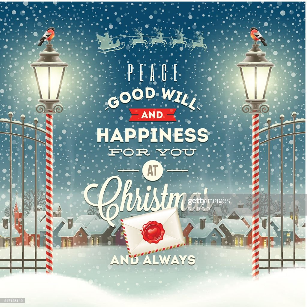 Christmas greeting type design with vintage street lantern