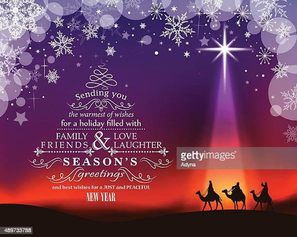 christmas greeting - three wise men stock illustrations, clip art, cartoons, & icons