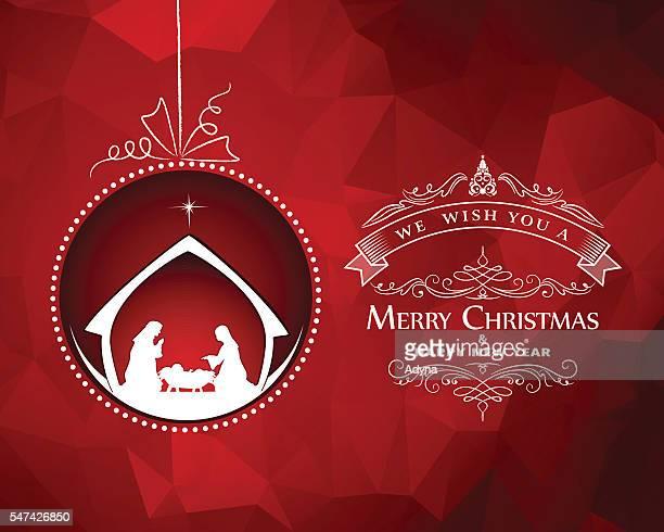ilustraciones, imágenes clip art, dibujos animados e iconos de stock de felicitación de navidad  - nacimiento de navidad
