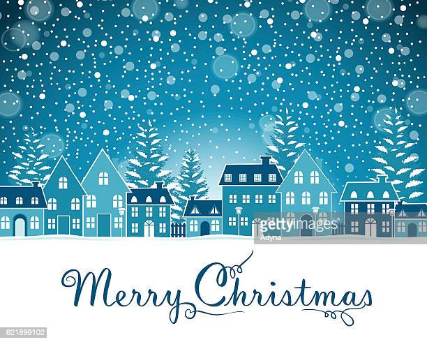 christmas greeting - town stock illustrations