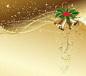 Christmas greeting with bgold bells and holly leaf