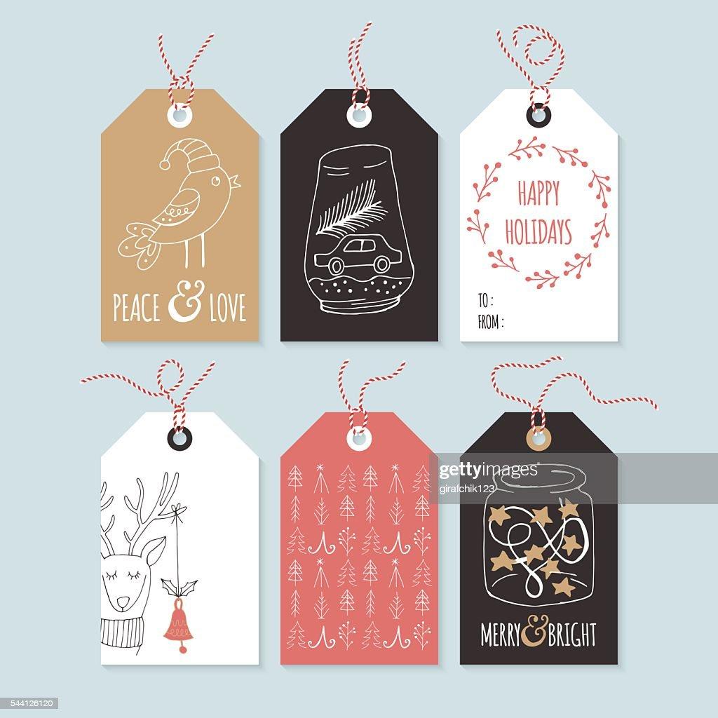 Christmas hand drawing gift tag set. Isolated vector
