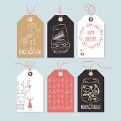 Christmas hand drawing gift tag set. Isolated vector