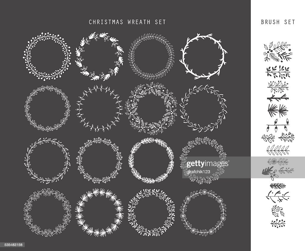 Christmas hand drawing sketch wreath set for design