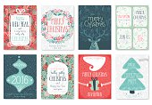 Christmas hand drawn card set.
