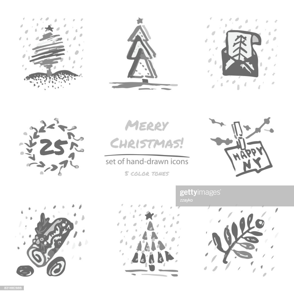 Christmas hand drawn sketch icons on white background