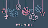 Christmas hanging balls and snowflakes vector. Xmas background borders header illustration. Happy Holidays background.