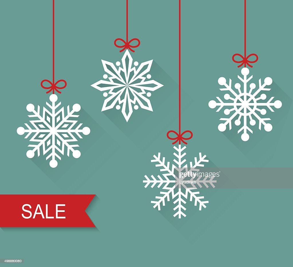 Christmas hanging snowflakes. Sale. Vector flat illustration.
