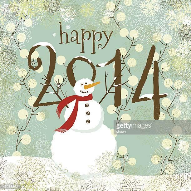 2014 Navidad y feliz Año Nuevo muñeco de nieve