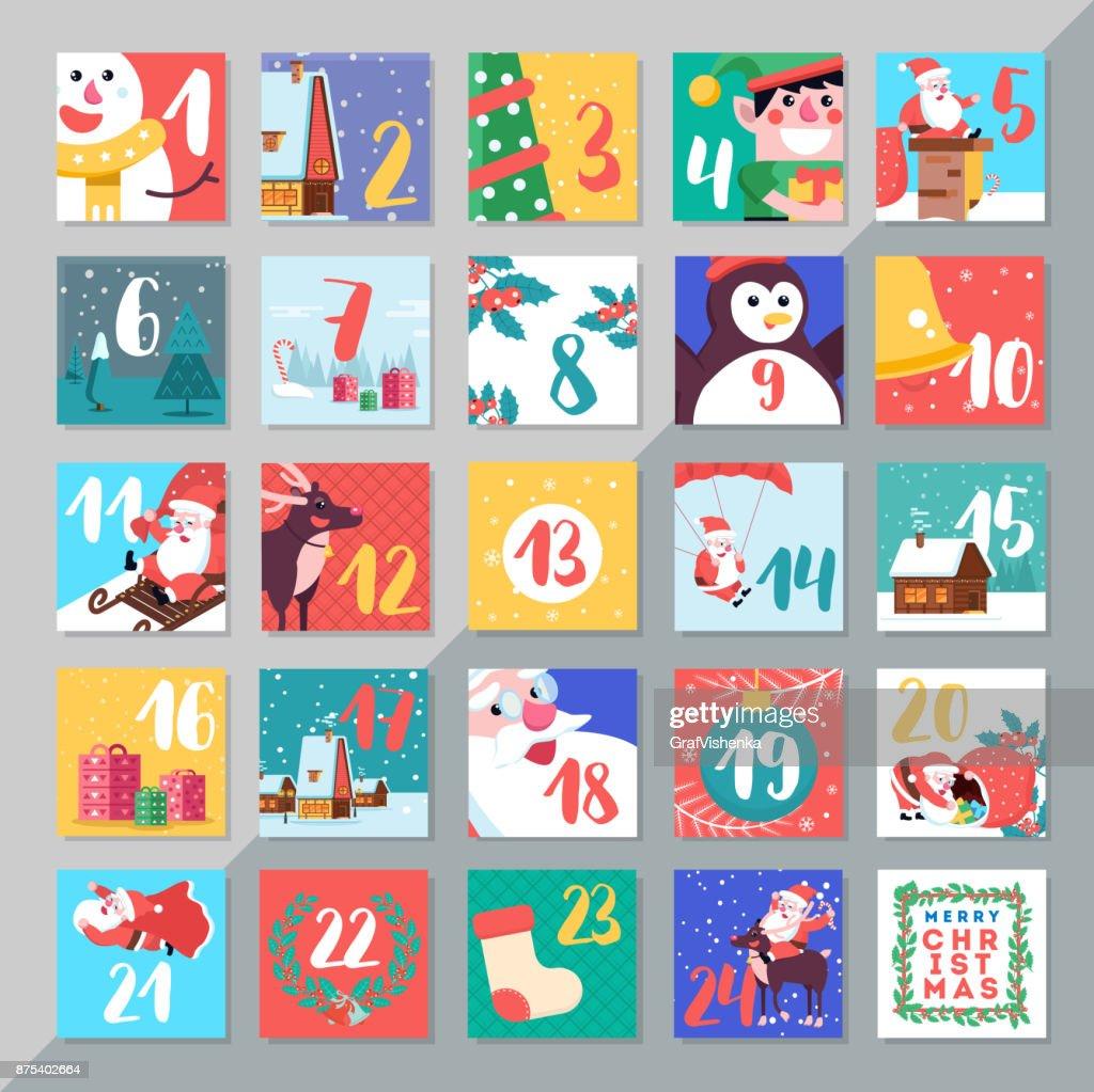 Christmas holiday advent calendar template design. Merry xmas da