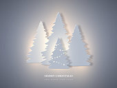 Christmas holiday banner with paper cut style fir-tree and glowing lights. New year background, vector illustration.