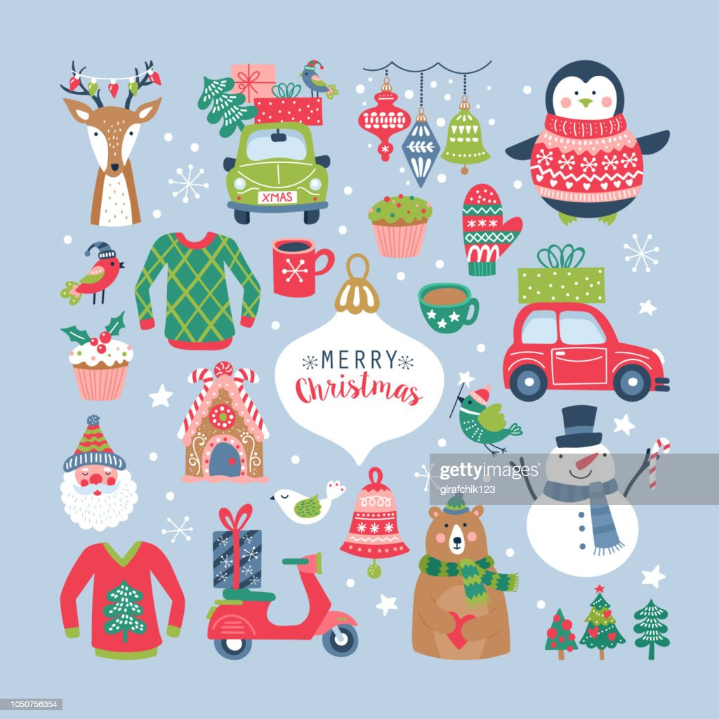 Christmas holiday cute elements set