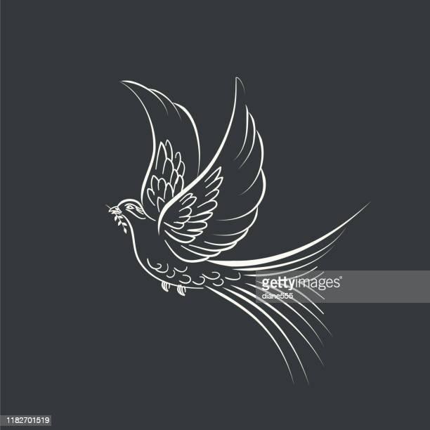 christmas holiday decorative elements - dove bird stock illustrations