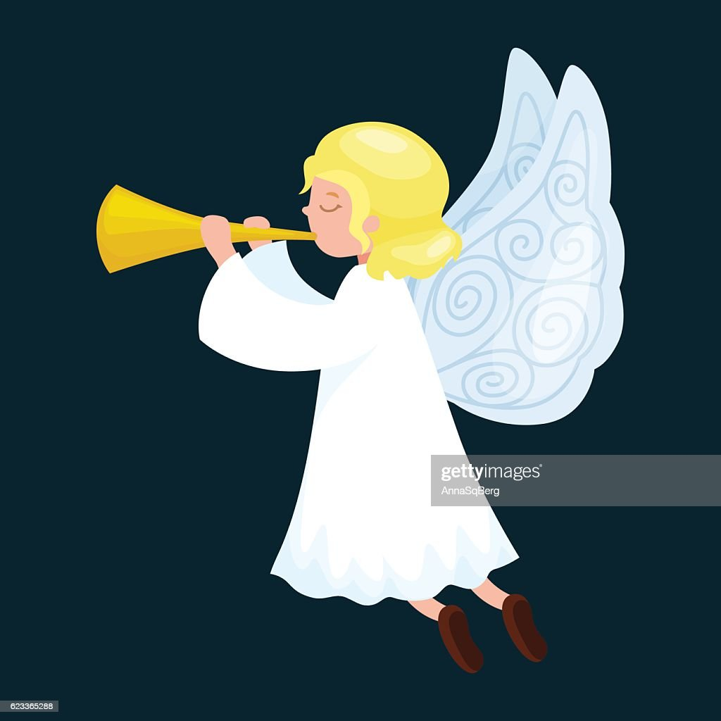 christmas holiday flying angel with wings and golden trumpet like