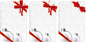 Christmas Holiday Gift card with red bows.