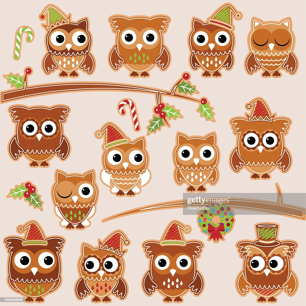 Christmas Holiday Gingerbread Cookie Owls in Vector Format