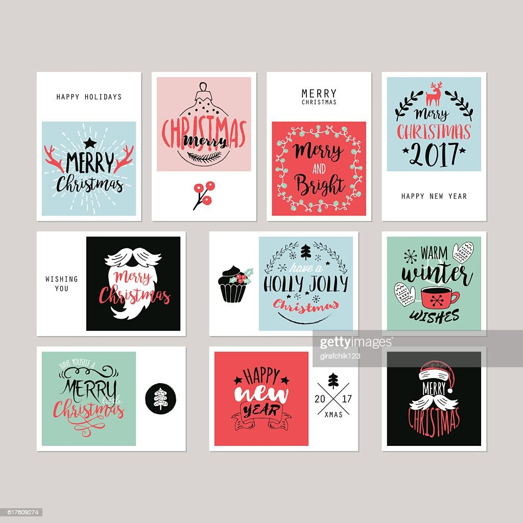 Christmas holiday greeting card set with typography and  hand-drawing elements