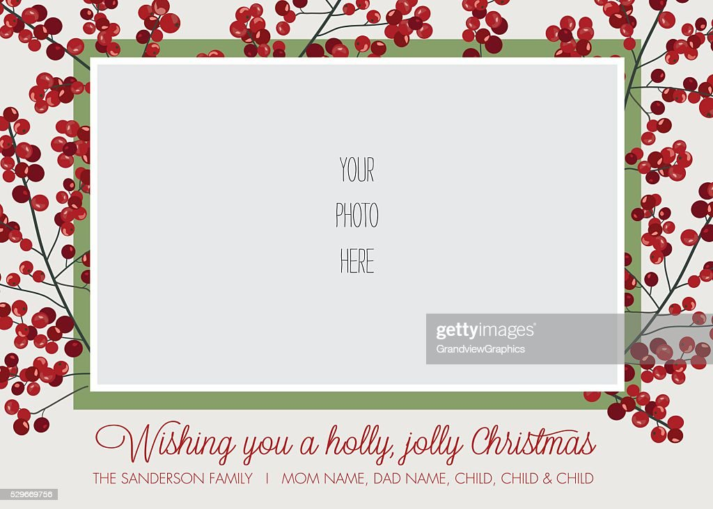 Christmas Holiday Greeting Card Template with Holly Border