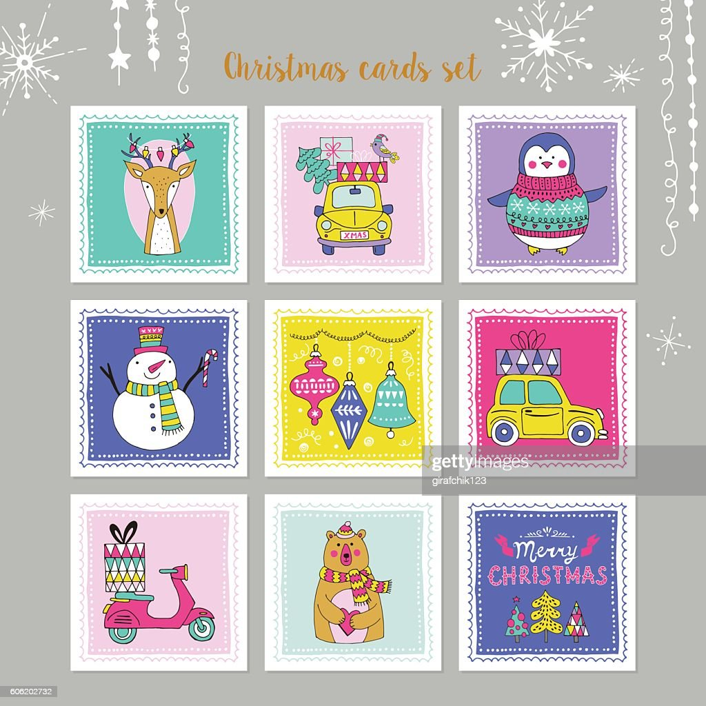 Christmas holiday hand drawing card set with decorative elements