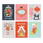 Christmas holiday hand drawing greeting card set