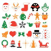 Christmas holiday icons and symbols
