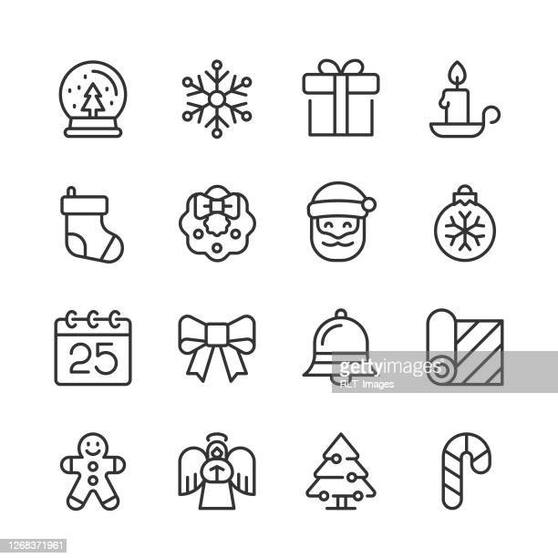 christmas holiday icons — monoline series - christmas decore candle stock illustrations