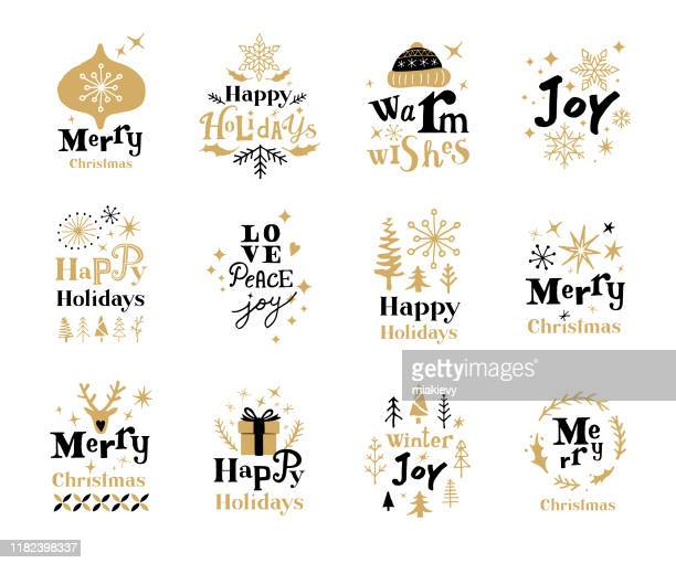 christmas holiday labels - sayings stock illustrations