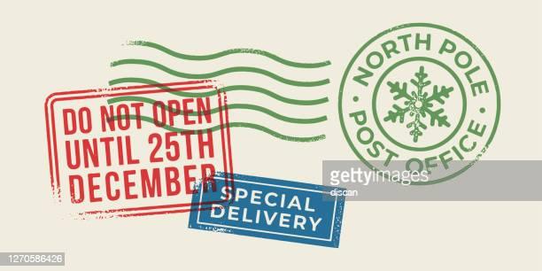 christmas holiday letter stamps. - postmark stock illustrations