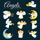 christmas holiday set of flying angel with wings and gifts