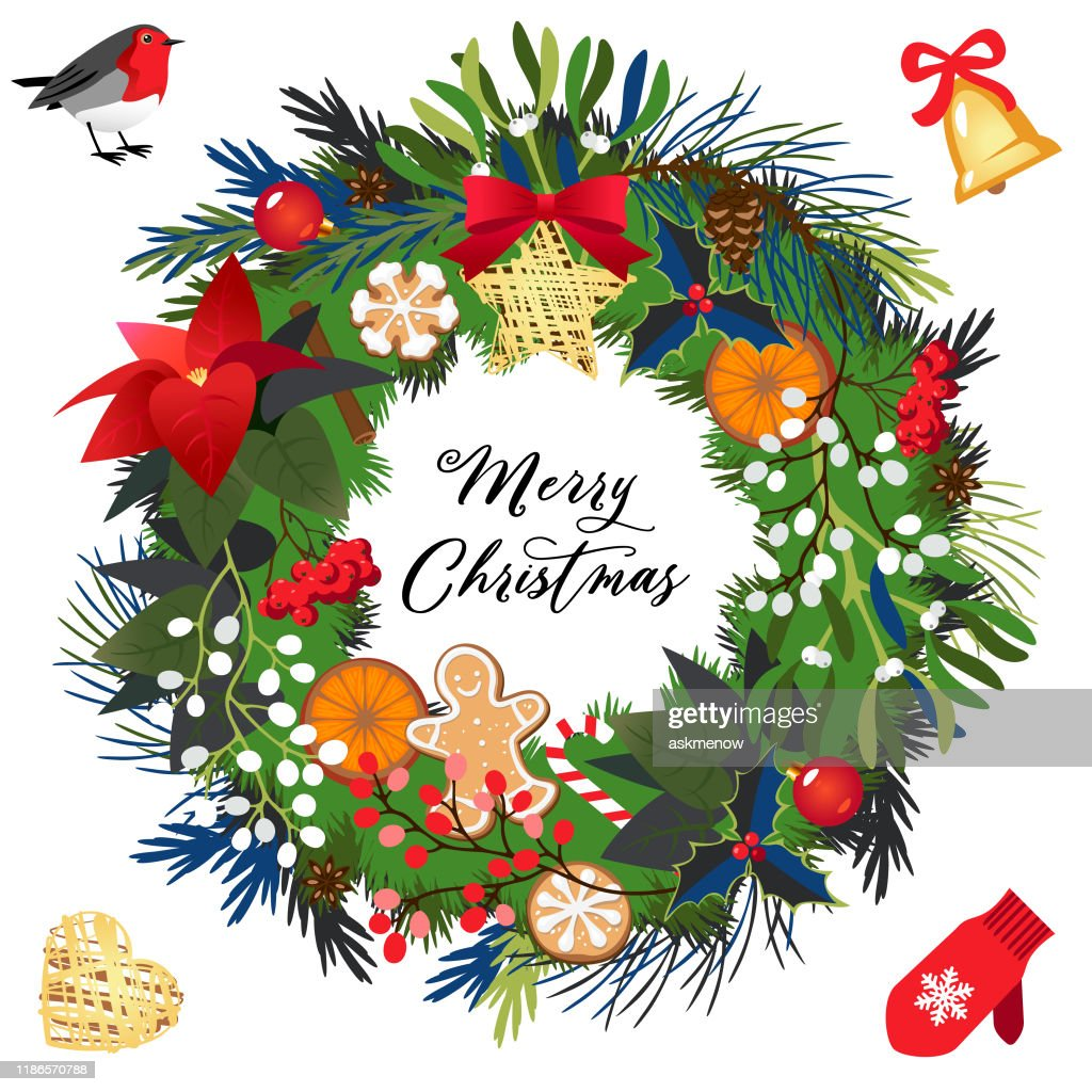 Christmas Holiday Wreath High Res Vector Graphic Getty Images