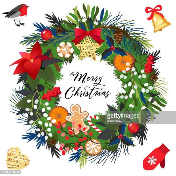 christmas holiday wreath - mistletoe stock illustrations
