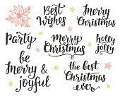 Christmas holidays hand lettering set