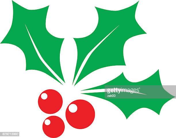 christmas holly berry - illustration - mistletoe stock illustrations, clip art, cartoons, & icons