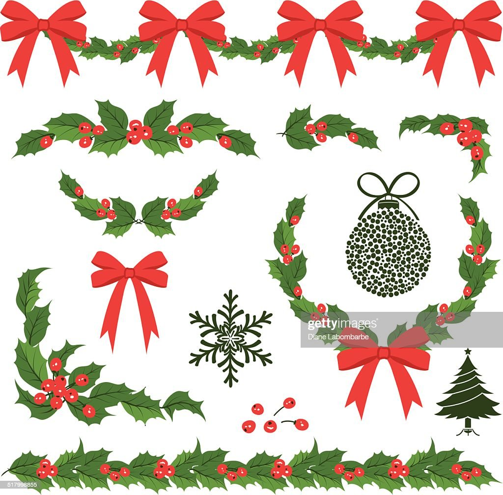 Christmas Holly Decorations and Ornaments : stock illustration